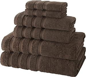 Classic Turkish Towels 6 Piece Towel Set - Soft Premium Heavy Duty and Fast Drying Towels Made with 100% Turkish Cotton (Chocolate, 6 Piece Set)