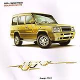 Quara Automaze Car Side Decal Full Body Sticker Graphics,Orange-Black For Tata-Sumo Gold 0173