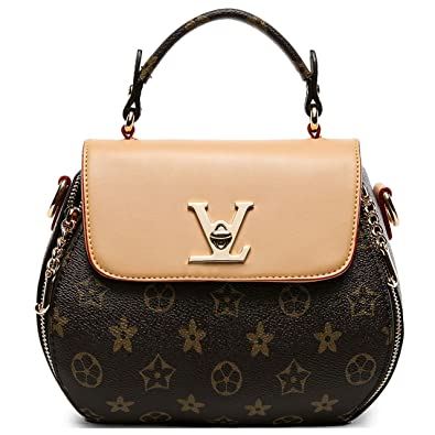 1c368ccf9 SUNNY Famous Womens Monogram Canvas Flap Handbags Double-used Chain Bags  Tote Bag (apricot