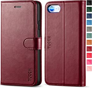 TUCCH iPhone SE 2020 Wallet Case, iPhone 8 Case, iPhone 7 PU Leather Flip Folio Wallet Case with Card Slot, Stand Magnetic Closure TPU Shockproof Interior Case Compatible with iPhone 7/8/SE2, Wine Red