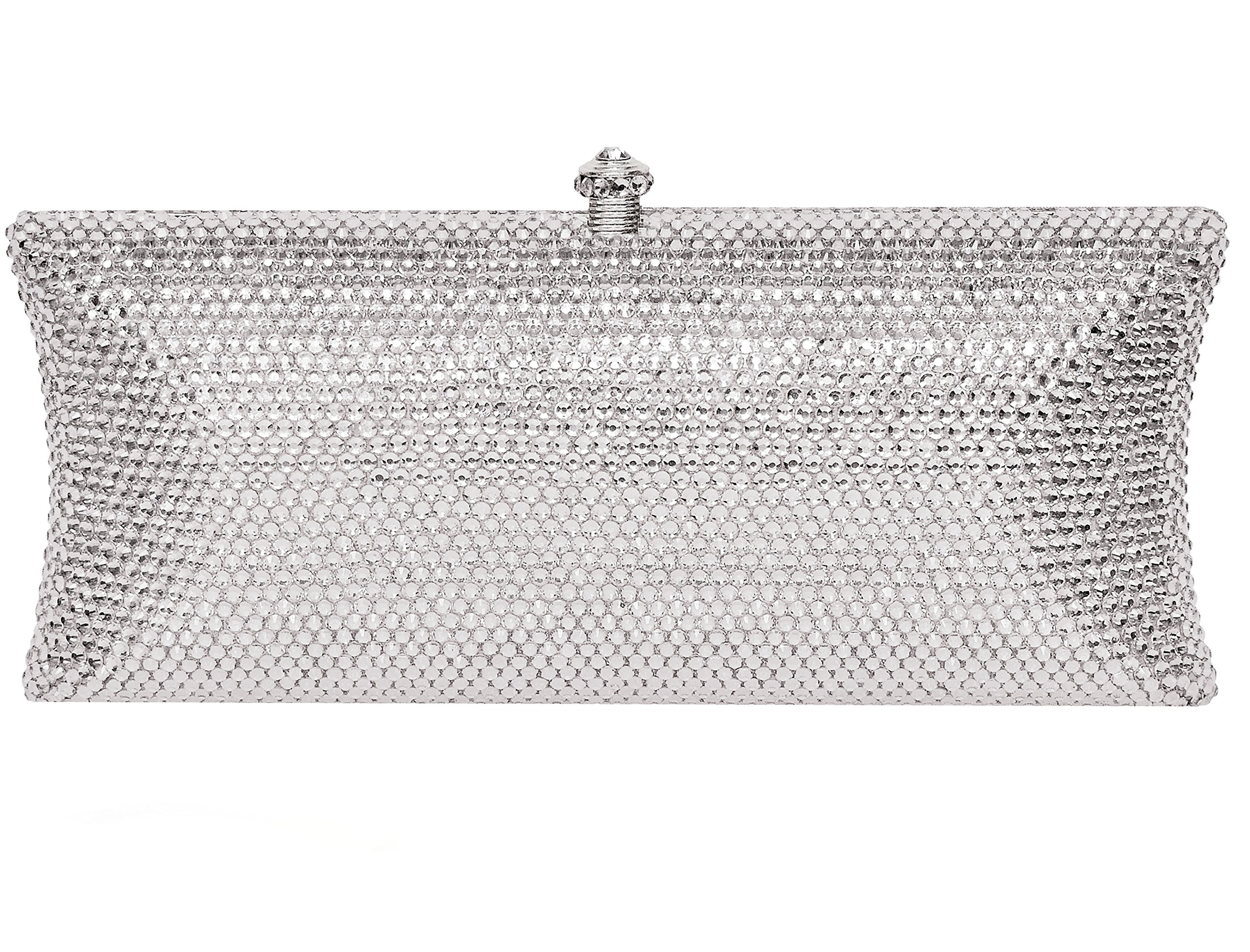Crystal Bridal Clutch Holiday Party Evening Bag & Silver Compact Mirror Gift Set Silver