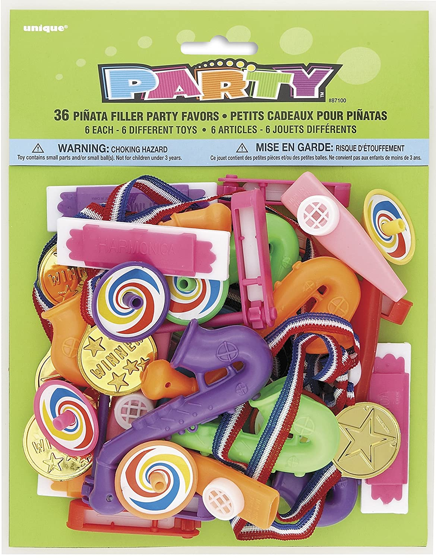 Unique Party- Paquete de 36 regalitos de relleno de piñata para fiestas (87100)