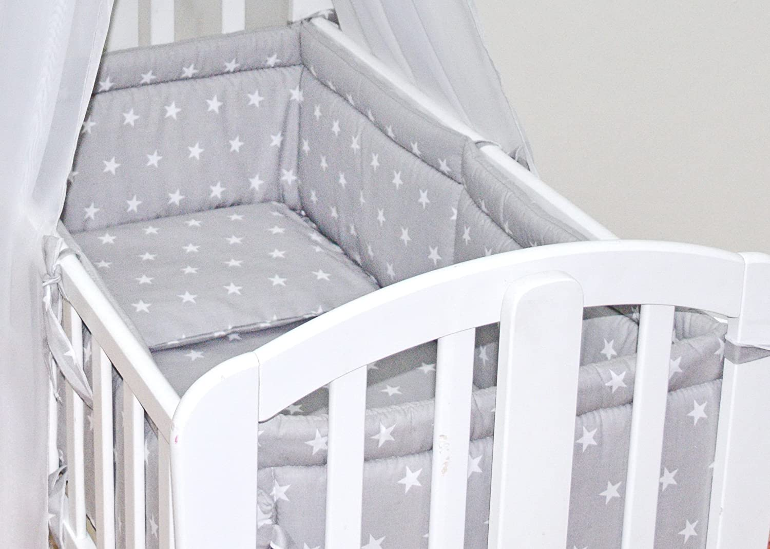 6pcs BABY SWINGING/ ROCKING CRIB /CRADLE BEDDING SET/ALL ROUND BUMPER 100% COTTON! (Grey Stars) COKAY LTD