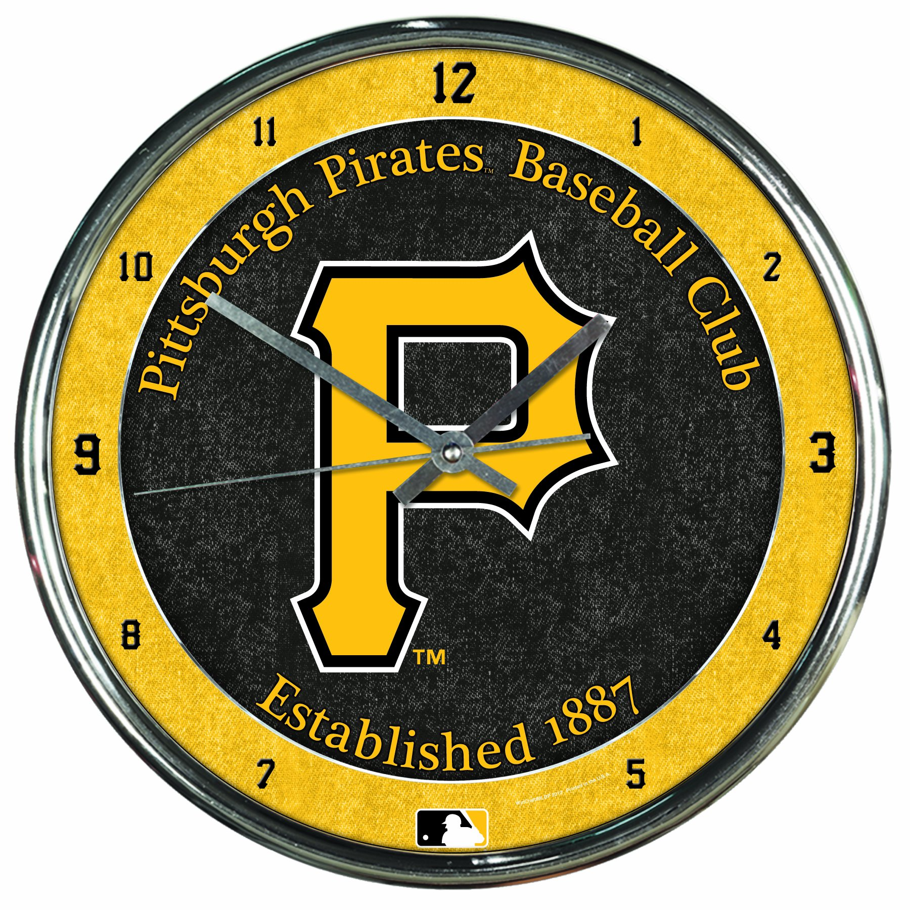MLB Pittsburgh Pirates Chrome Clock, 12'' x 12'' by WinCraft
