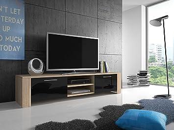 TV Stand Global / TV Table / LED Option / (Oak / Black)