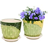 Set of 2 Green & Yellow Bamboo Design Ceramic Flower Pot Planter with Attached Saucer