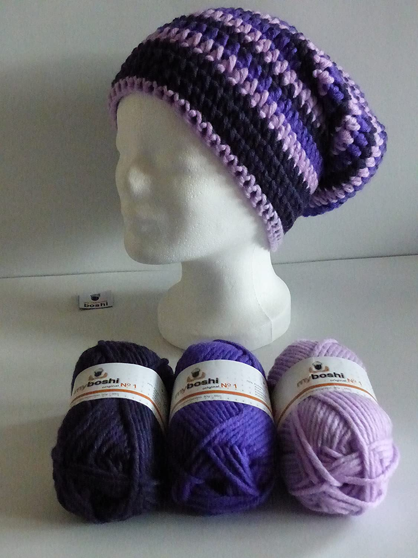 my boshi Häkelset Mütze candypurpur, pflaume, violett wie abgebildet m. 150g myboshi Lara\'s Creations Anleitung (Set 1: Wolle + Label)