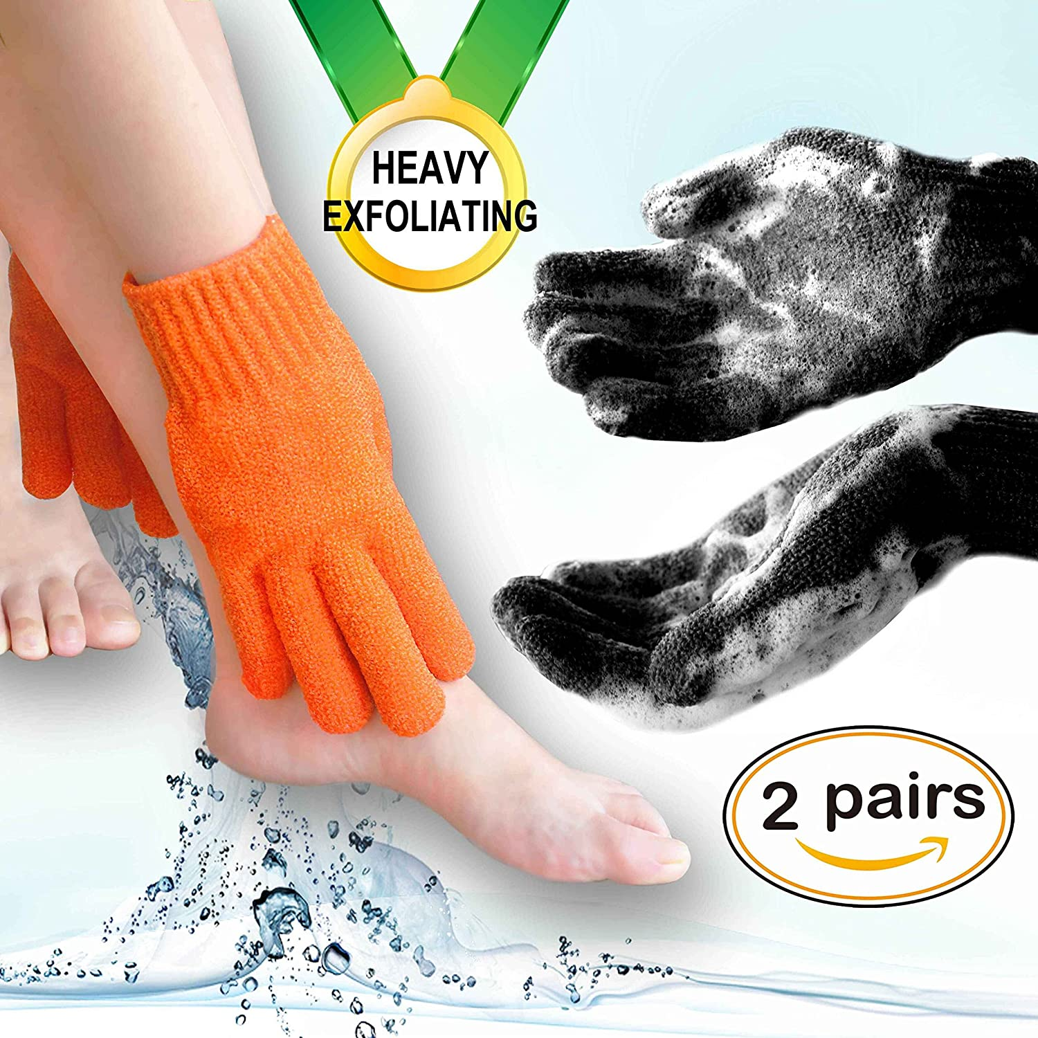 Home Spa Exfoliating gloves Hydro full body wash to cleanse scrub gloves - Shower & Bath - Deep clean dead skin and Improves blood circultion (2 pairs Plain, Orange+Black) …