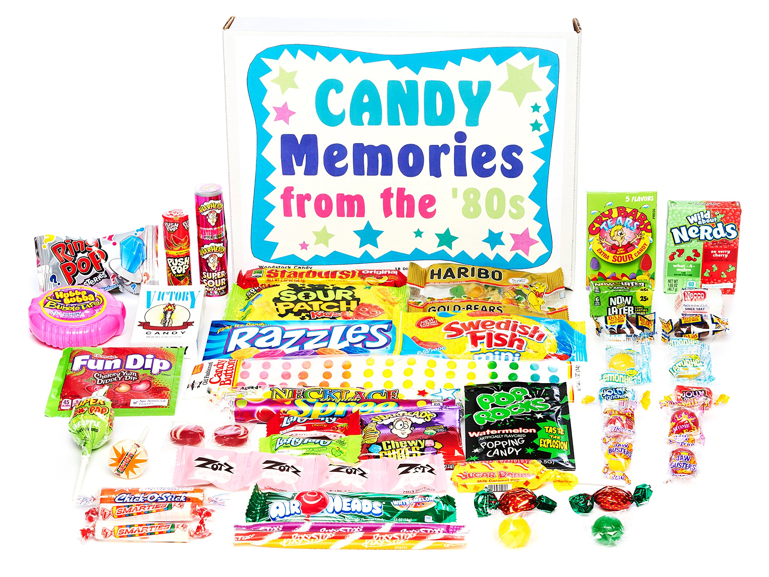 Woodstock Candy ~ Gift Box Old Time 80s Eighties Candy Retro Nostalgic Gift Assortment Memories from 1980s for Man or Woman