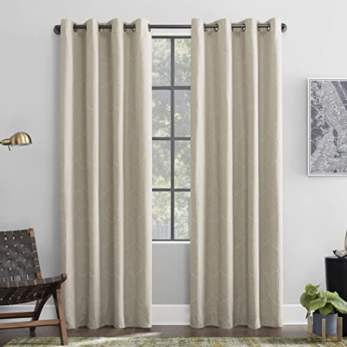Scott Living Elkay Woven Geometric Pattern 100 Blackout Grommet Curtain Panel