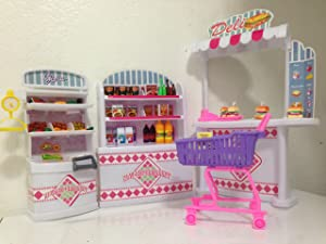 Gloria Dollhouse Furniture - Supermarket Shopping Cart Veggie Playset