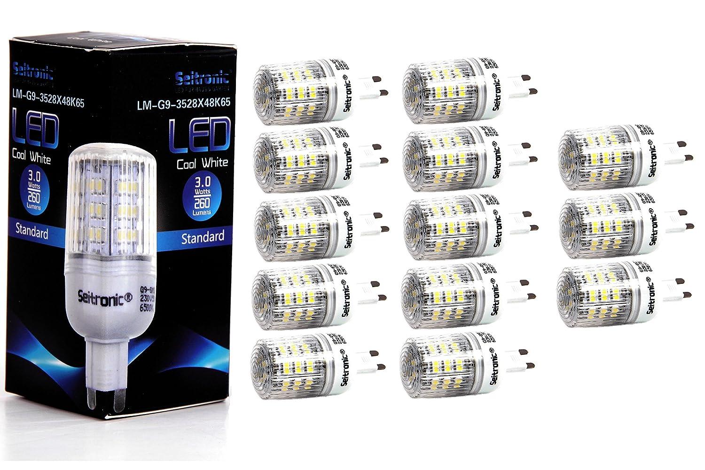 Seitronic® 13er Set G9 LED Lampen von Seitronic mit 3 Watt, 260LM und 48LEDs - Kalt weiß 6500K, Ersetzt 45W, Kalt-Weiß - SMD LED Leuchtmittel - 160° Abstrahlwinkel