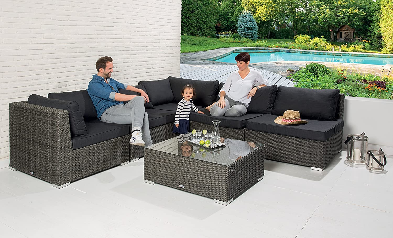 poly rattan garten lounge gartenset garnitur grau gartenm bel sofa sitzgruppe g nstig bestellen. Black Bedroom Furniture Sets. Home Design Ideas