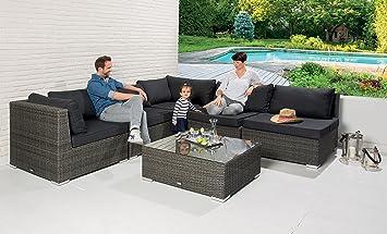 Poly Rattan Garten Lounge Gartenset Garnitur Grau Gartenmöbel Sofa