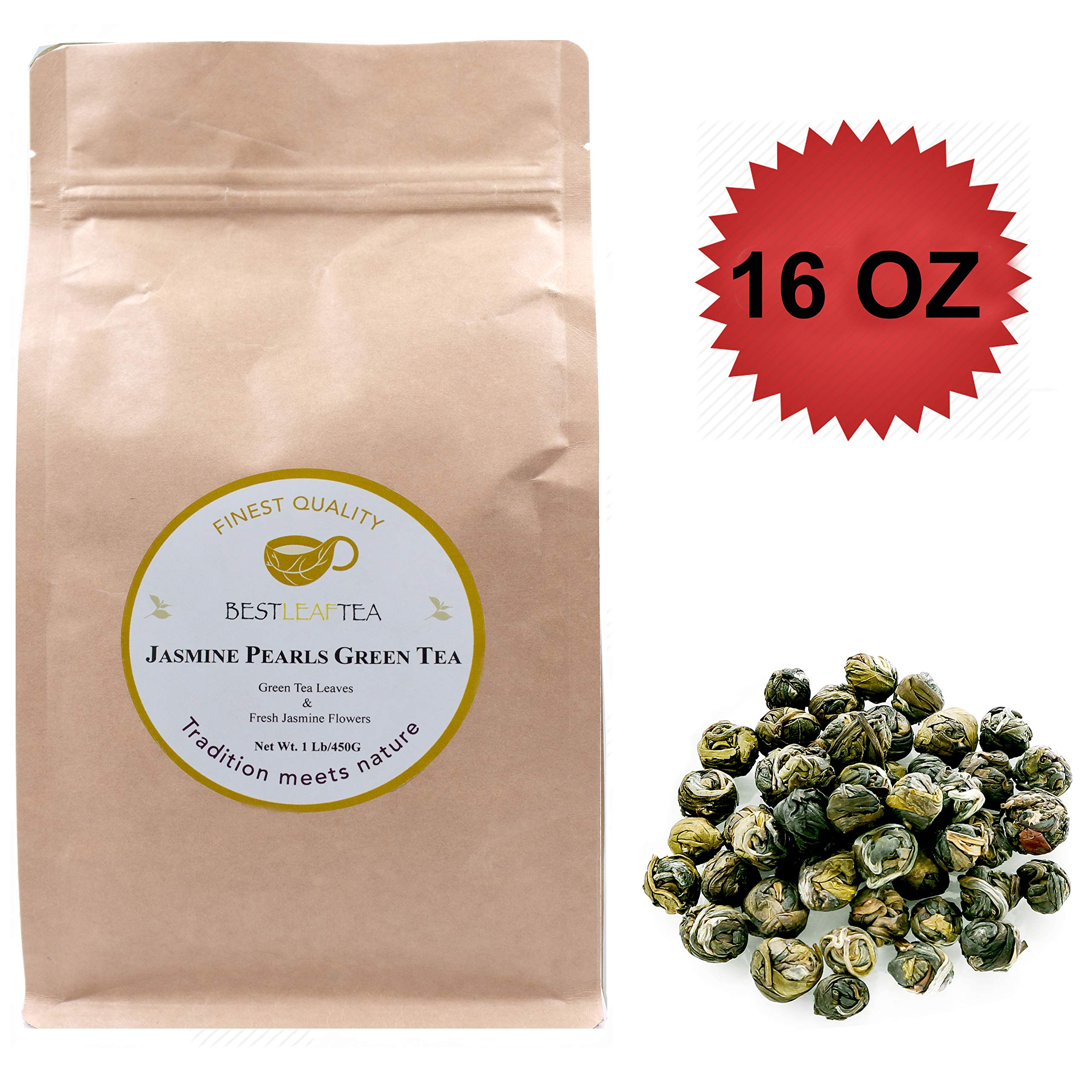 BESTLEAFTEA- 2019 New Jasmine Pearls Green Tea/Dragon Pearls Green Tea 16oz/450g by BESTLEAFTEA
