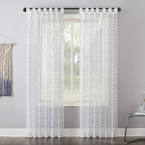No. 918 Hope Macrame Lace Sheer Tab Top Curtain Panel, 50 x 84 , White