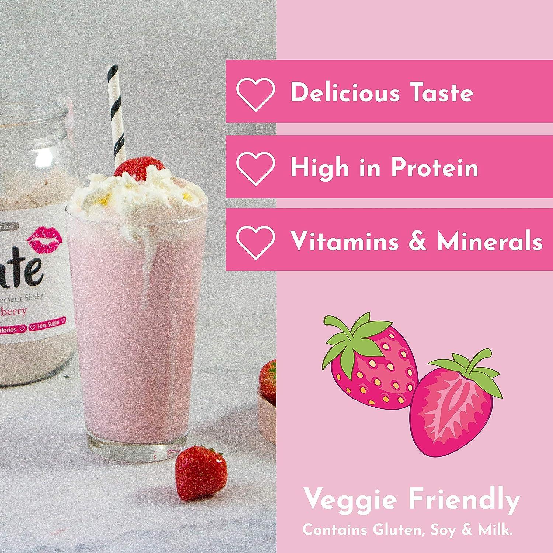 Cute Nutrition Batido Sustitutivo de Comida Sabor Fresa para el Control de la Pérdida de Peso en Polvo Bebida Dietética para Mujer Bote de 500 g: Amazon.es: Salud y cuidado personal