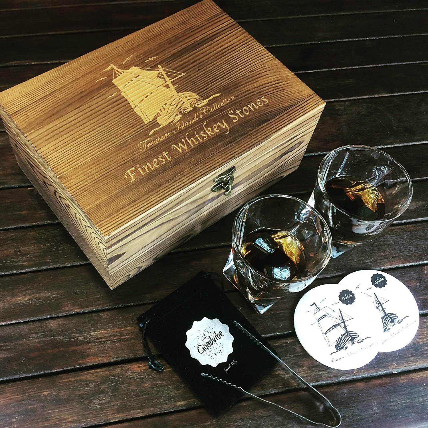Treasure Islands Collection Whiskey Stones and Glass Gift Set Velvet Pouch /& Tongs in Elegant Wooden Box 2 Free Coasters 2 Large Whiskey Crystal Glasses 8 Reusable Granite Chilling Rocks