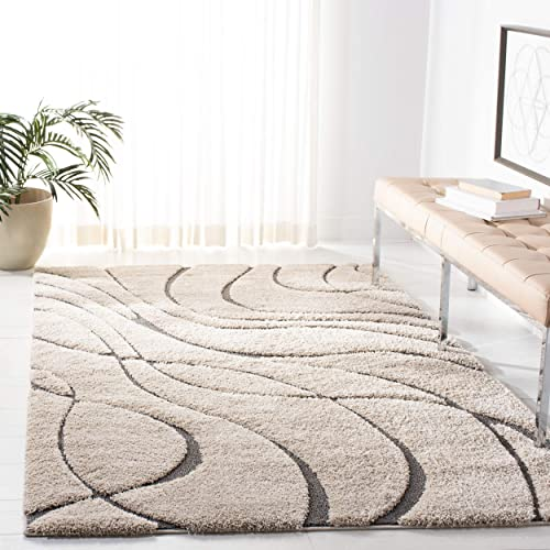 Safavieh Florida Shag Collection SG471-1180 Cream and Grey Area Rug 4 x 6