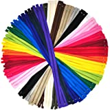 Nylon Zippers for Sewing, 20 Inch 50 PCs Bulk Zipper Supplies in 20 Assorted Colors; by Mandala Crafts