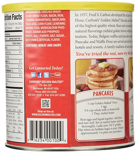 Amazon Com Golden Malted Waffle And Pancake Flour Original 33