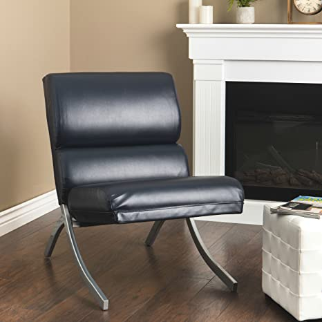 Terrific Amazon Com Armless Bonded Leather Accent Chair Black Modern Pabps2019 Chair Design Images Pabps2019Com