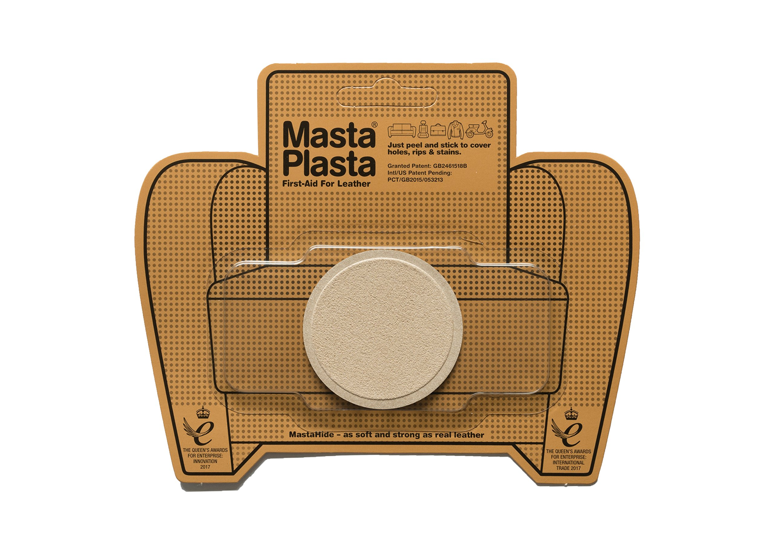 MastaPlasta, Leather Repair Patch, First-aid for Sofas Car Seats, Handbags Jackets, Beige Suede Small Circle