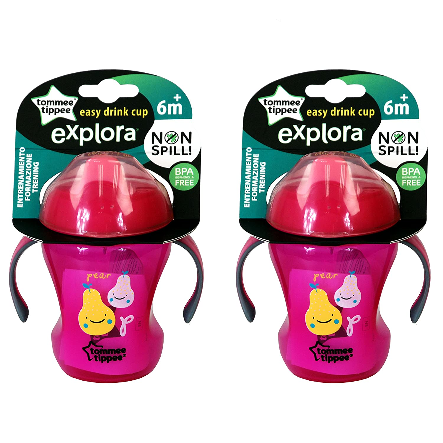 Pink Blue Green Bpa free 260ml Tommee Tippee Explora  Trainer Cup Age 6m