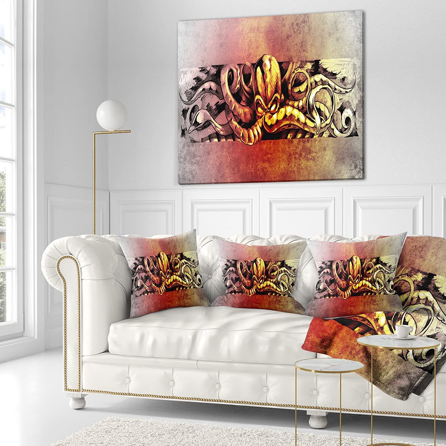 Sofa Throw Pillow 18 in Designart CU7986-18-18 Octopus Sketch in Yellow Shade Animal Cushion Cover for Living Room in x 18 in Insert Printed On Both Side