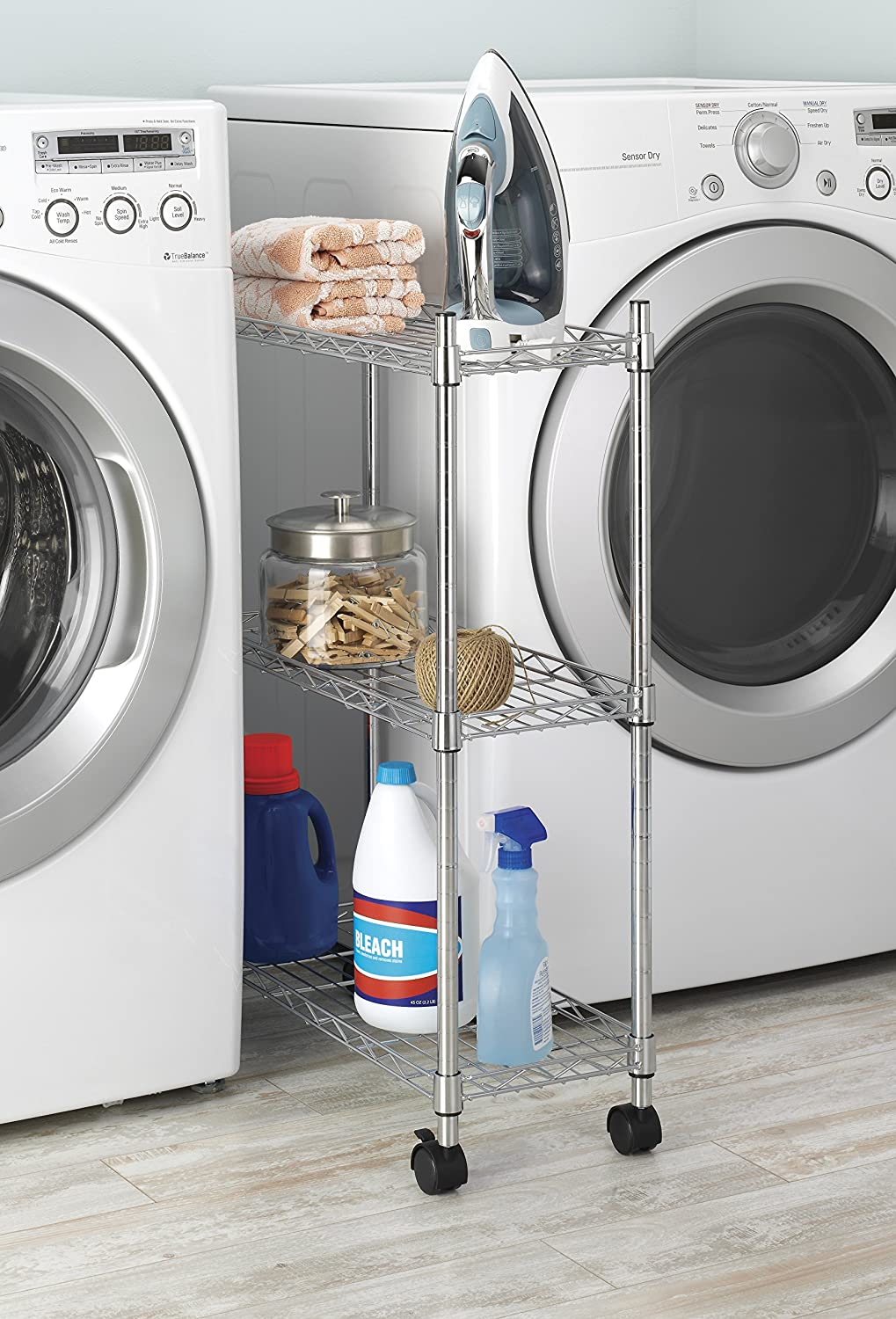 Amazon.com: Whitmor Supreme Laundry Cart And Versatile Storage Solution    Chrome: Home U0026 Kitchen