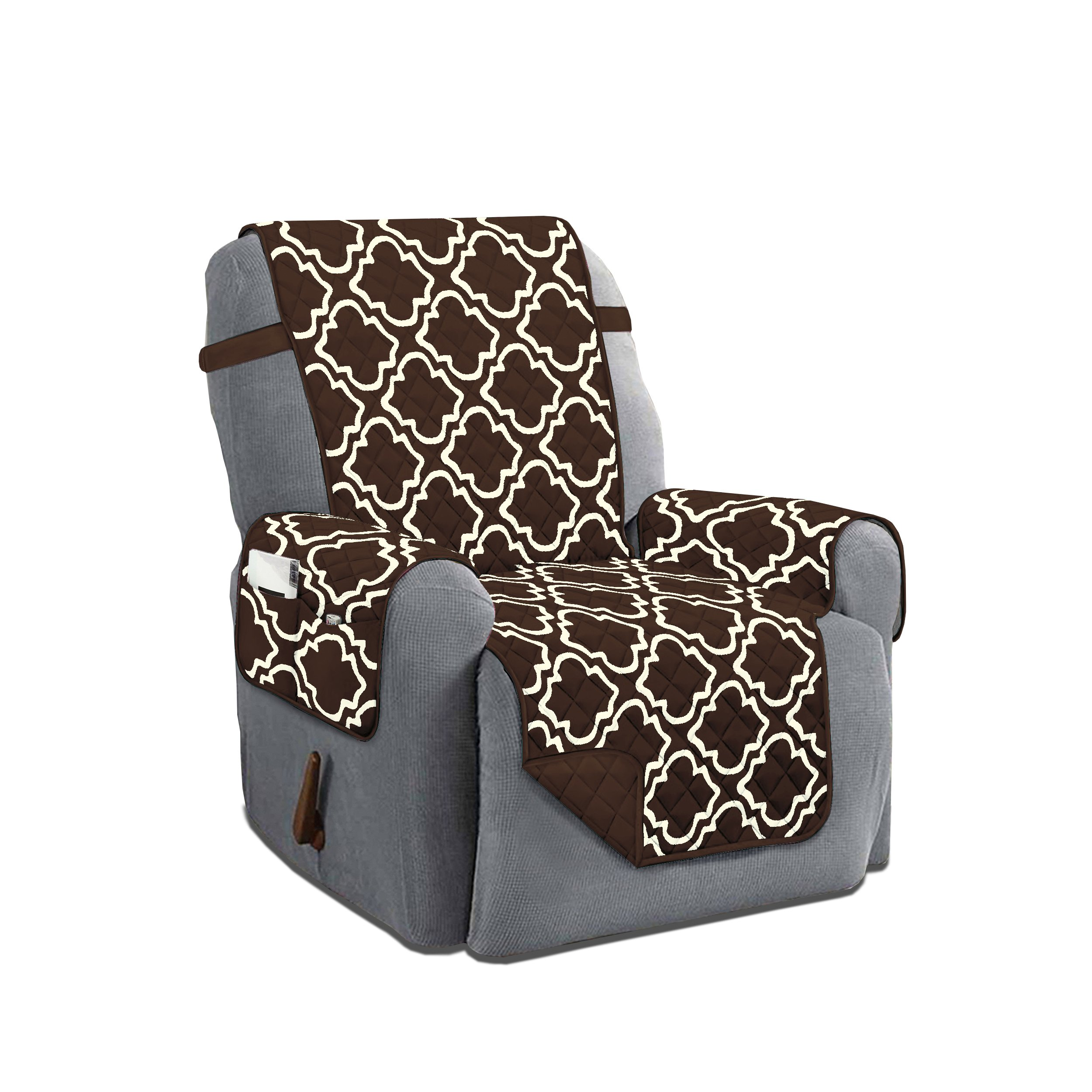 Austin Reversible Solid/Print Microfiber Furniture Protector With Strap & Side Pockets (Recliner, Chocolate) by Linen Store