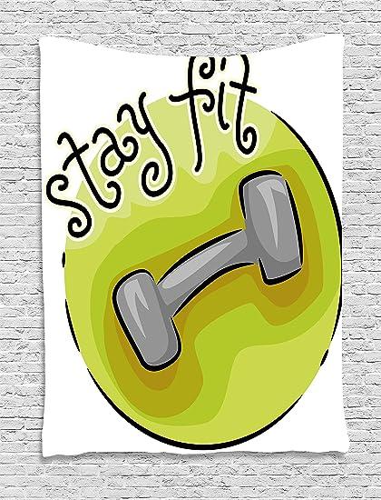 Fitness tapiz por Ambesonne, Stay Fit Circular icono mancuerna con un estilo de dibujos animados