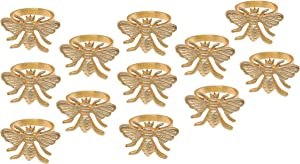Alpha Living Home Napkin Rings Set of 12, Bee Napkin Holders, Metal Napkin Rings Bulk for Party Decoration, Dinning Table, Everyday, Family Gatherings - A Great Tabletop Décor - Gold