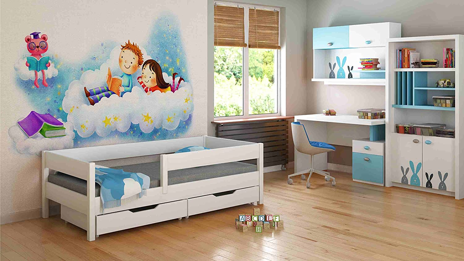 Single Beds For Kids Children Toddler Junior 140x70/160x80/180x80/180x90/200x90 NO DRAWERS NO MATTRESS INCLUDED (140x70, White)