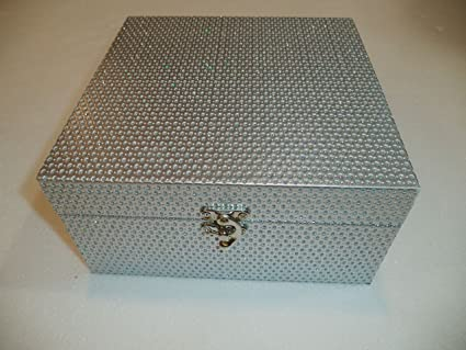 Caja Secreter / Joyero / Guarda-todo. Color Plata. Caja cuadrada de madera