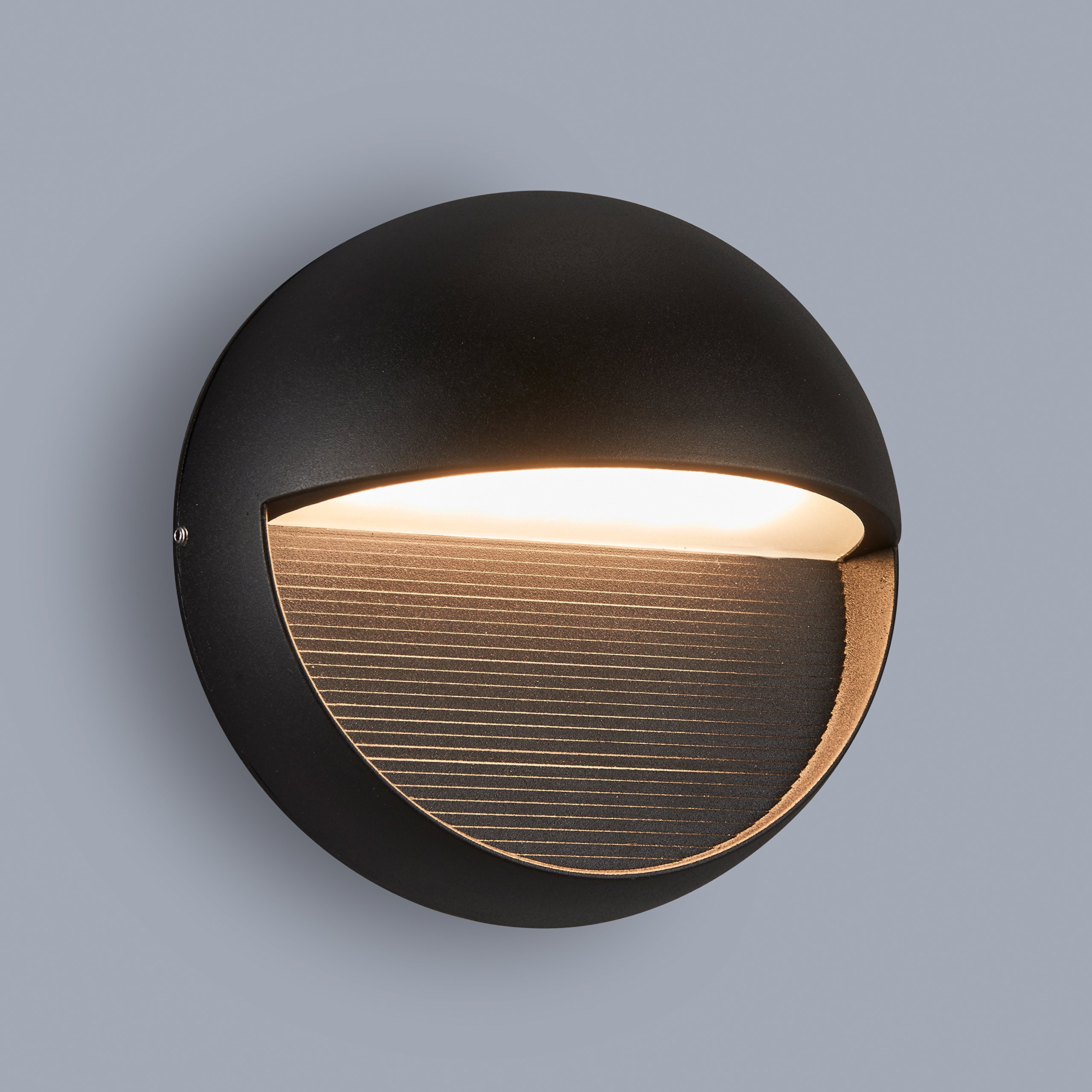 MICSIU LED Aluminum Wall Mount Light Outdoor Indoor Wall Sconce, ADA Compliant. UL Listed. Textured Black (Round Wall Light)