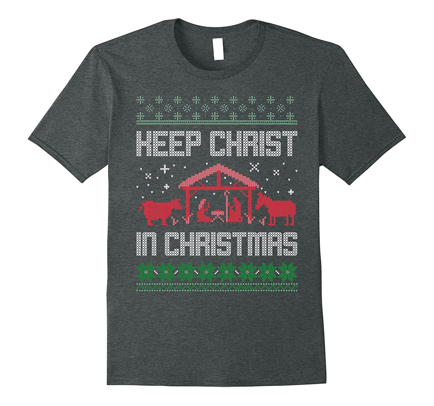 Keep Christ In Christmas T-Shirt in Ugly Sweater Style-ANZ - Anztshirt