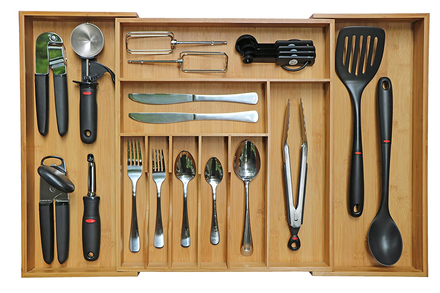 KitchenEdge Bamboo Kitchen Drawer Organizer for Silverware and Utensils, Expandable to 28 Inches Wide, 10 Compartments COMIN18JU068276