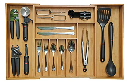Amazon kitchenedge bamboo kitchen drawer organizer for kitchenedge bamboo kitchen drawer organizer for silverware and utensils expandable to 28 inches wide workwithnaturefo