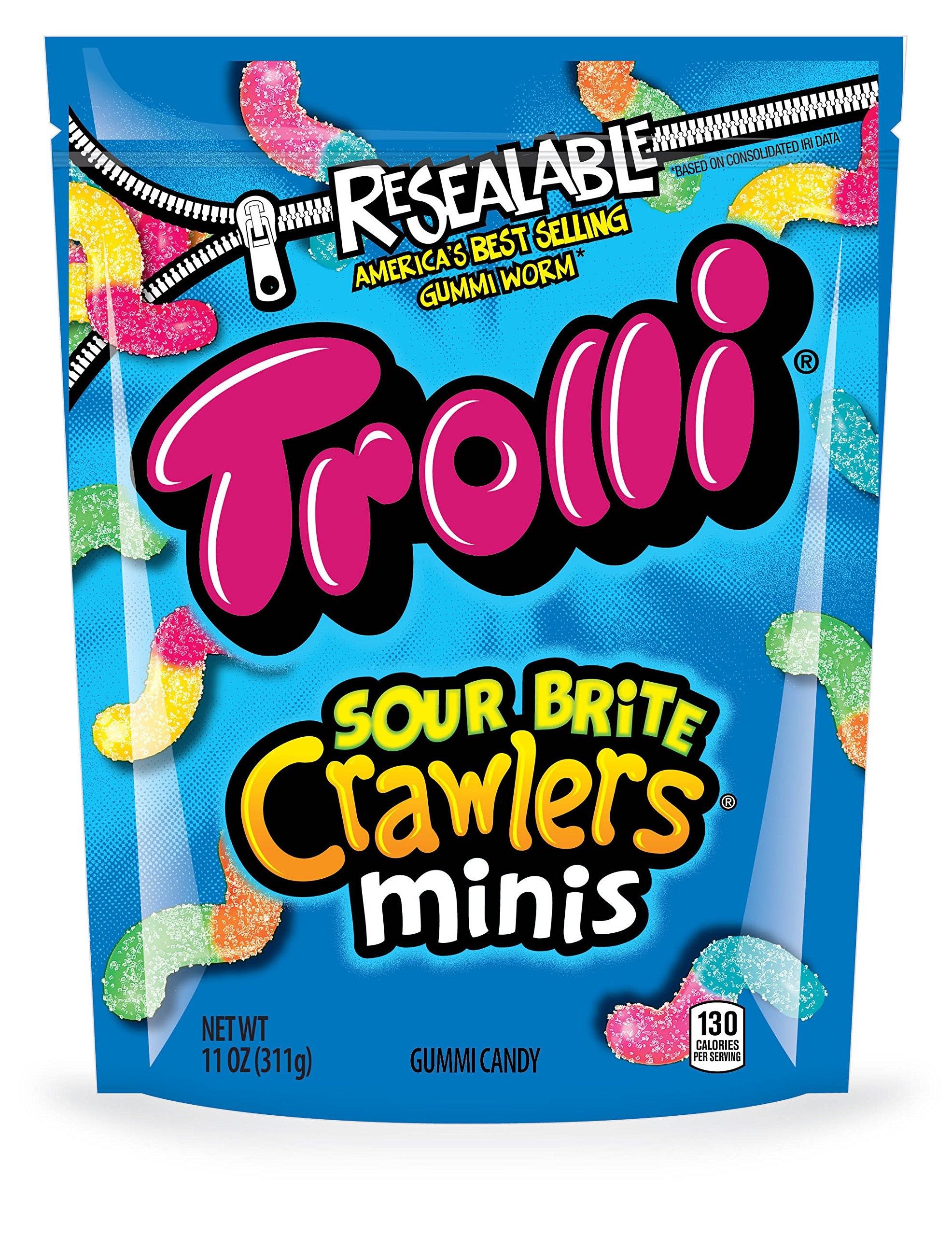 Trolli Sour Brite Crawlers Gummy Candy, 11 Ounce Bag (Pack of 6)