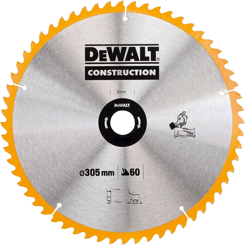 Dewalt DT1960-QZ Hoja para Sierra Circular estacionaria 305 x 30 mm 60D ATB-5º, Plateado