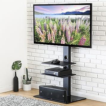 Fitueyes Floor TV Stand with Swivel Mount Component Shelf 2 Tiers Storage Audio