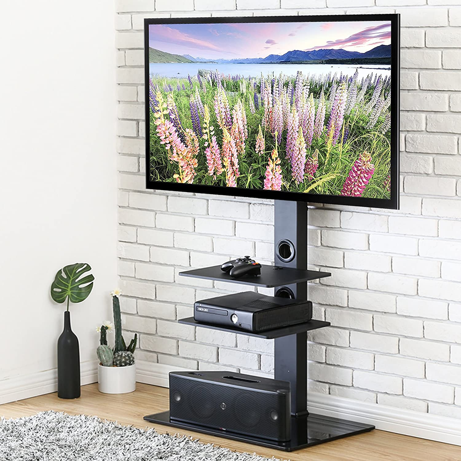 FITUEYES Universal Cantilever Glass TV Stand with Swivel Bracket for 32 to 65 inch LED LCD TV,Black TT207001MB