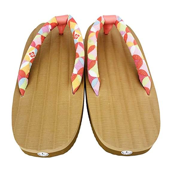 Japanese Geta//Zori Flip Flops Sandal with White Mari Ball Cloth Thong for Women