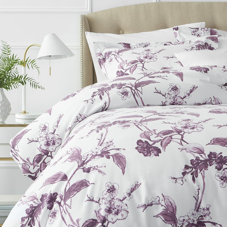 Pinzon Signature 190 Gram Cotton Heavyweight Velvet Flannel Duvet Cover Set, Full / Queen, Floral Amethyst