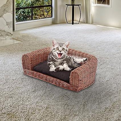 HOMCOM Sofa Cama Perro y Gato con Cojin 65x40x20cm Mimbre + Almohada Lavable Mascotas