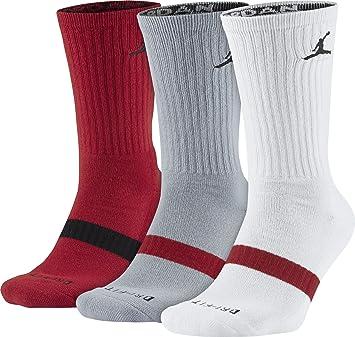 Nike Michael Jordan Drifit Crew 3Ppk Calcetines, Hombre, Rojo (Gym Red/Wolf