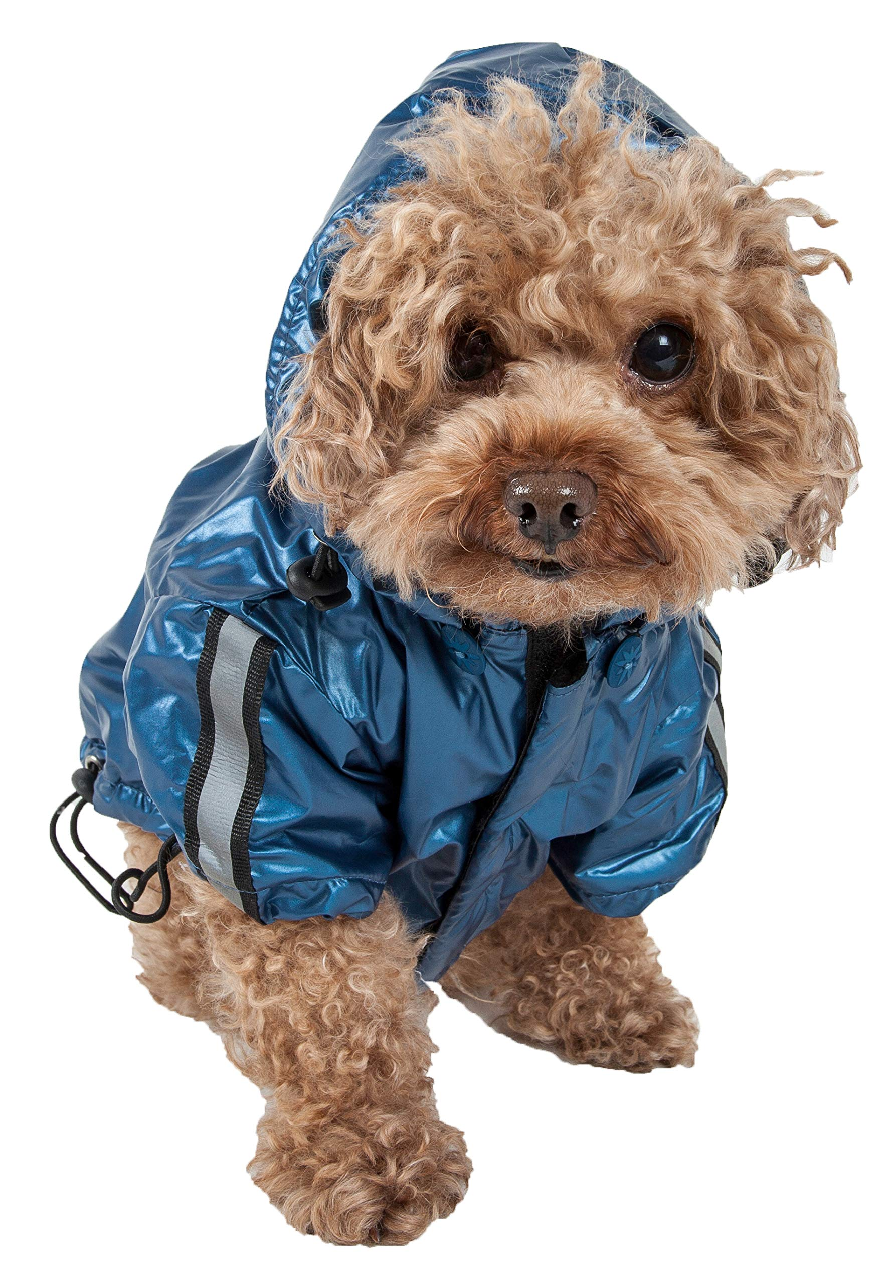 Pet Life Reflecta-Sport' Fashion Insulated Adjustable and Reflective Windproof Water-Resistant Pet Dog Coat Jacket Rainbreaker w/Removable Hood, Small, Dark Blue