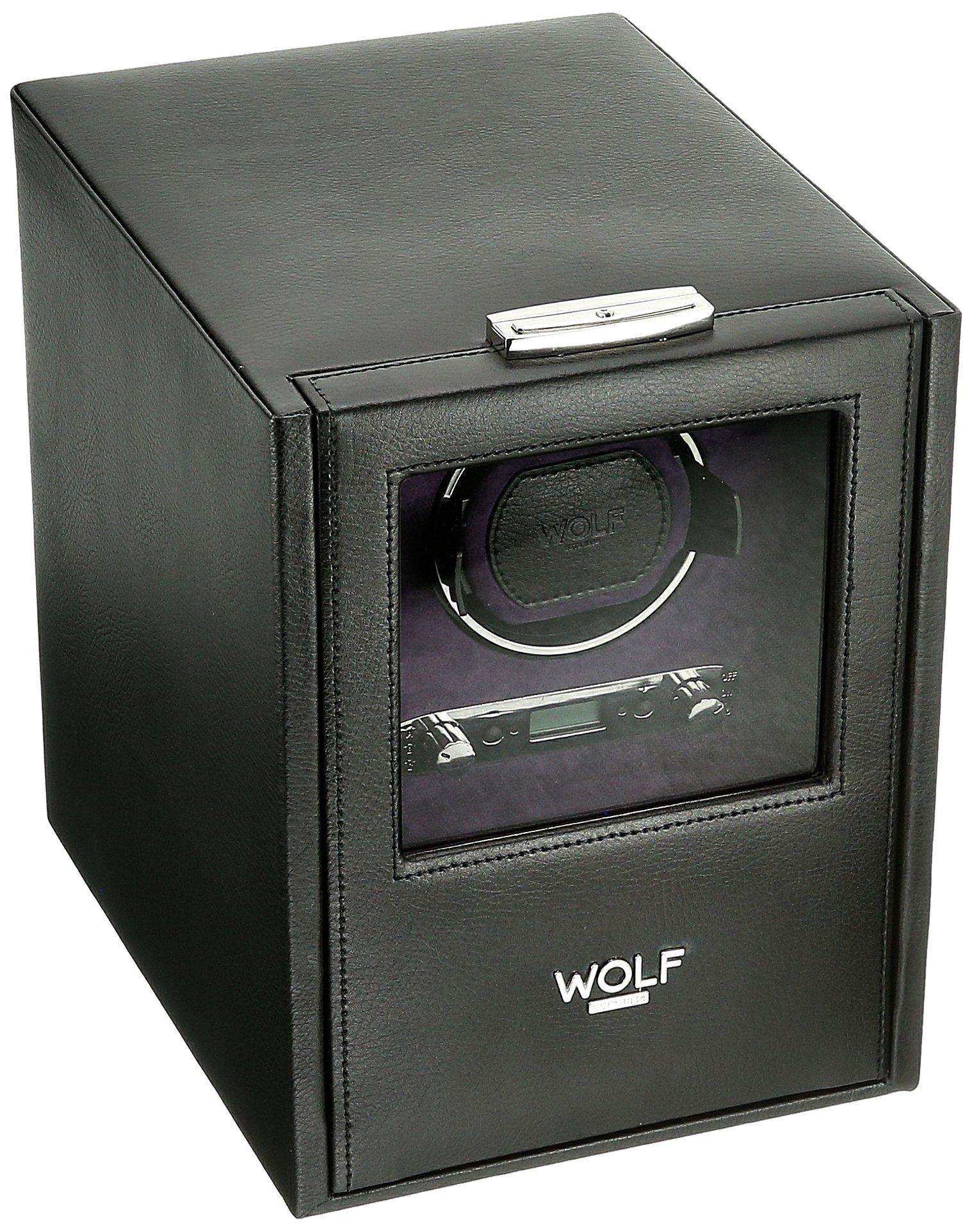 WOLF 460628 Blake Single Watch Winder with Storage, Black Pebble by WOLF