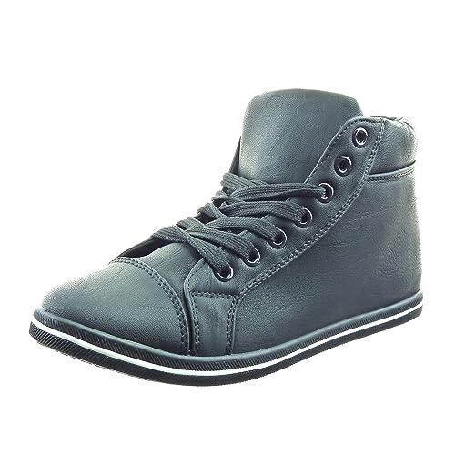Sopily - Zapatillas de Moda Deportivos A medio muslo mujer acabado costura pespunte Talón Tacón ancho 1.5 CM - Negro FRF-11-SY820 T 41: Amazon.es: Zapatos y ...